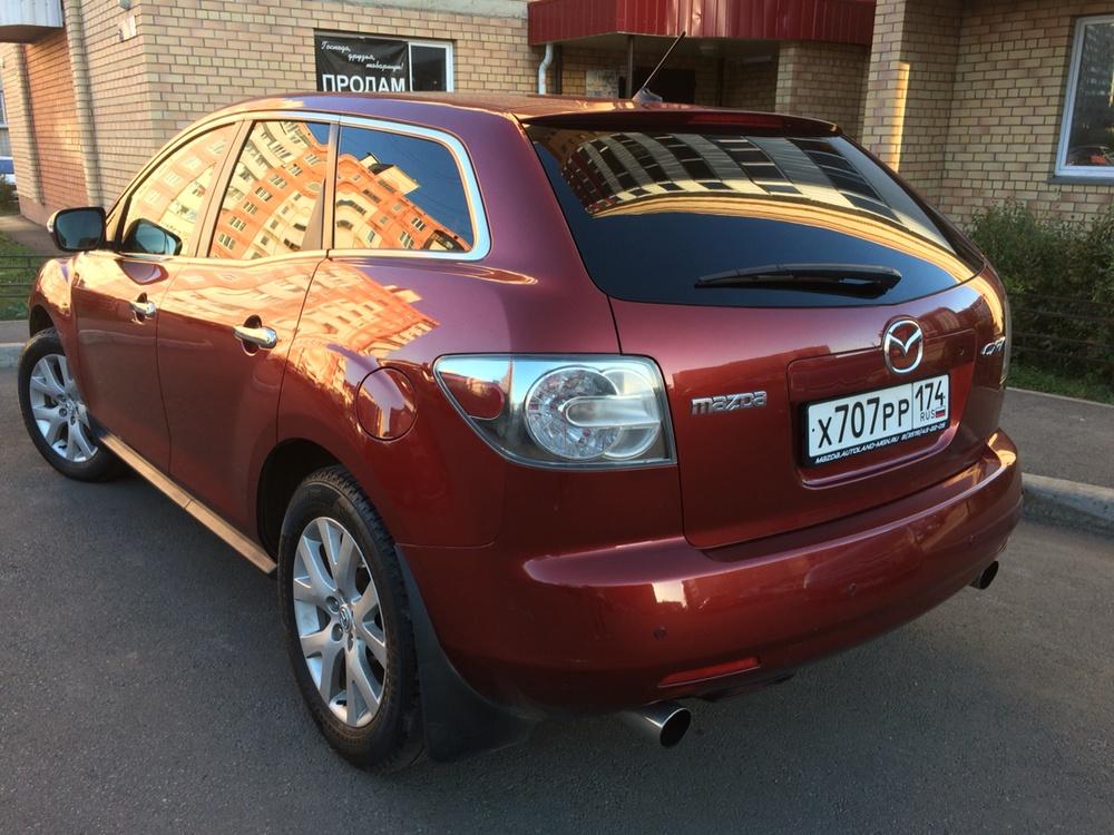 Подержанный Mazda CX-7, хорошее состояние, вишневый , 2008 года выпуска, цена 580 000 руб. в Челябинской области