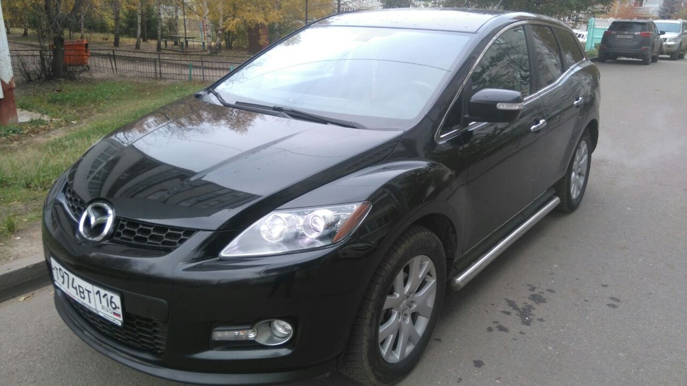 Подержанный Mazda CX-7, отличное состояние, черный металлик, 2008 года выпуска, цена 550 000 руб. в республике Татарстане