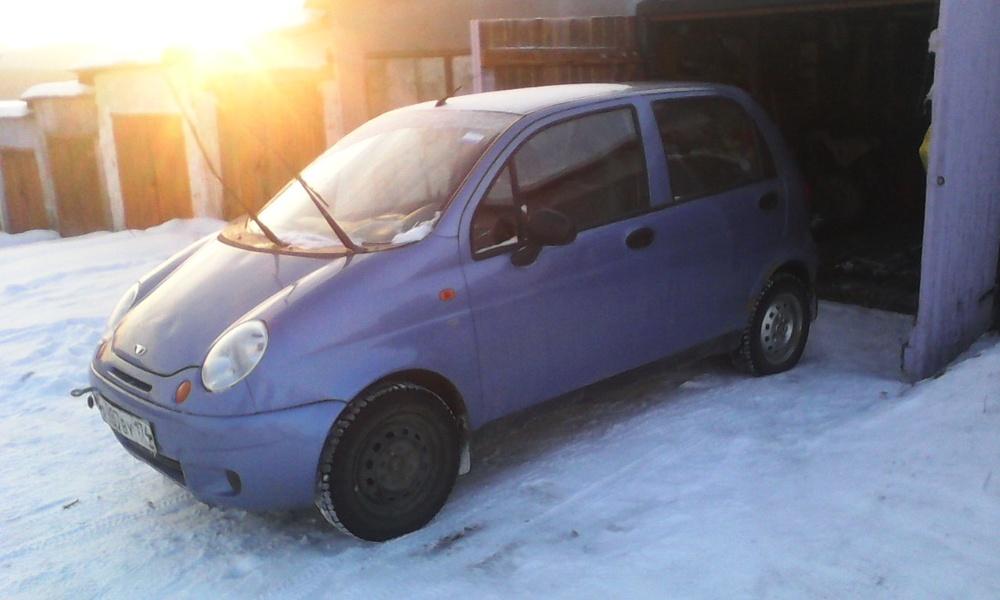 Подержанный Daewoo Matiz, хорошее состояние, голубой металлик, 2008 года выпуска, цена 110 000 руб. в Челябинской области