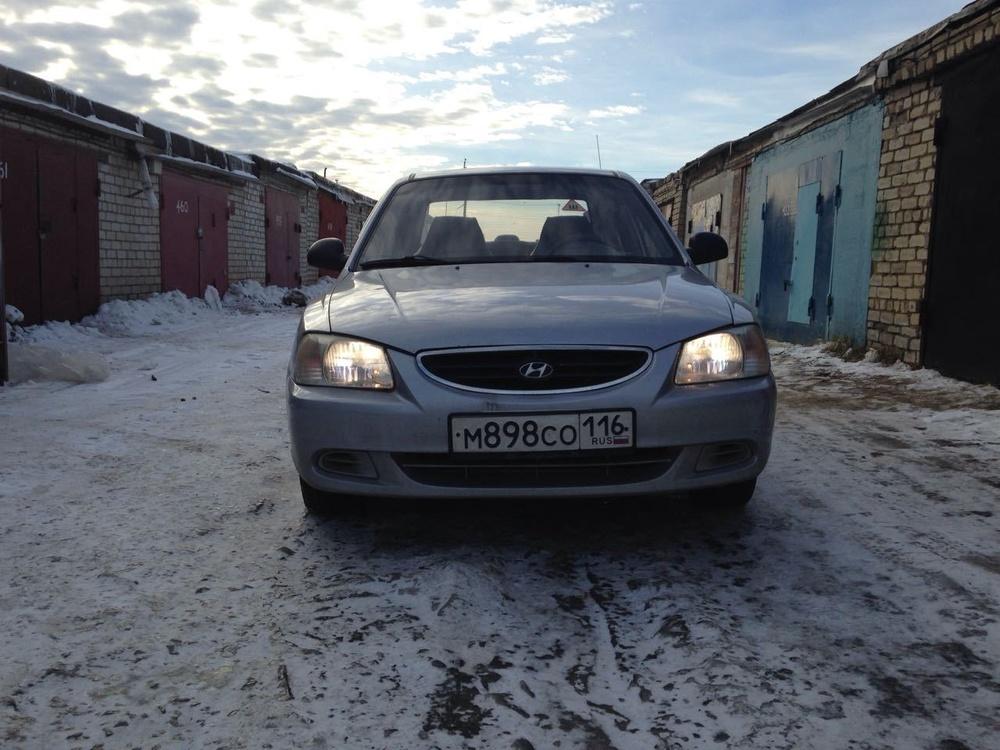 Подержанный Hyundai Accent, среднее состояние, серебряный металлик, 2007 года выпуска, цена 165 000 руб. в республике Татарстане