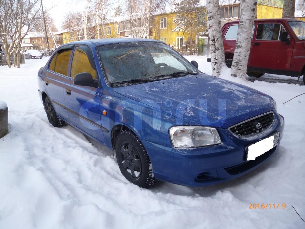 Подержанный Hyundai Accent, хорошее состояние, синий , 2003 года выпуска, цена 160 000 руб. в ао. Ханты-Мансийском Автономном округе - Югре