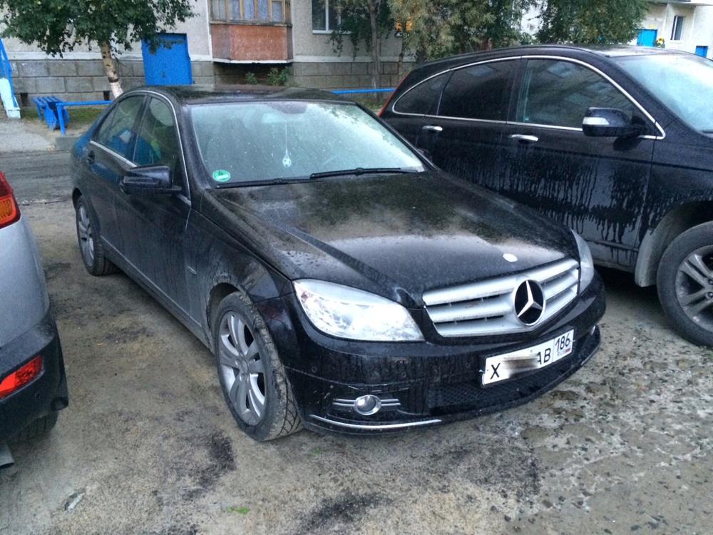 Подержанный Mercedes-Benz C-Класс, отличное состояние, черный , 2008 года выпуска, цена 750 000 руб. в ао. Ханты-Мансийском Автономном округе - Югре