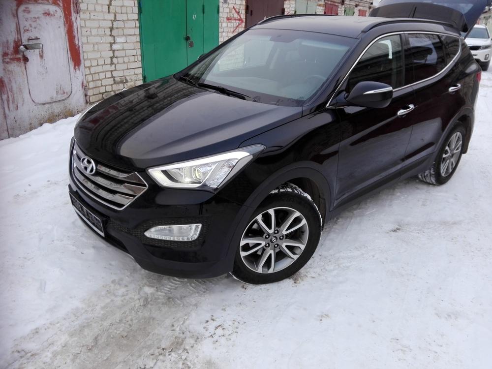 Подержанный Hyundai Santa Fe, отличное состояние, черный , 2013 года выпуска, цена 850 000 руб. в Смоленской области