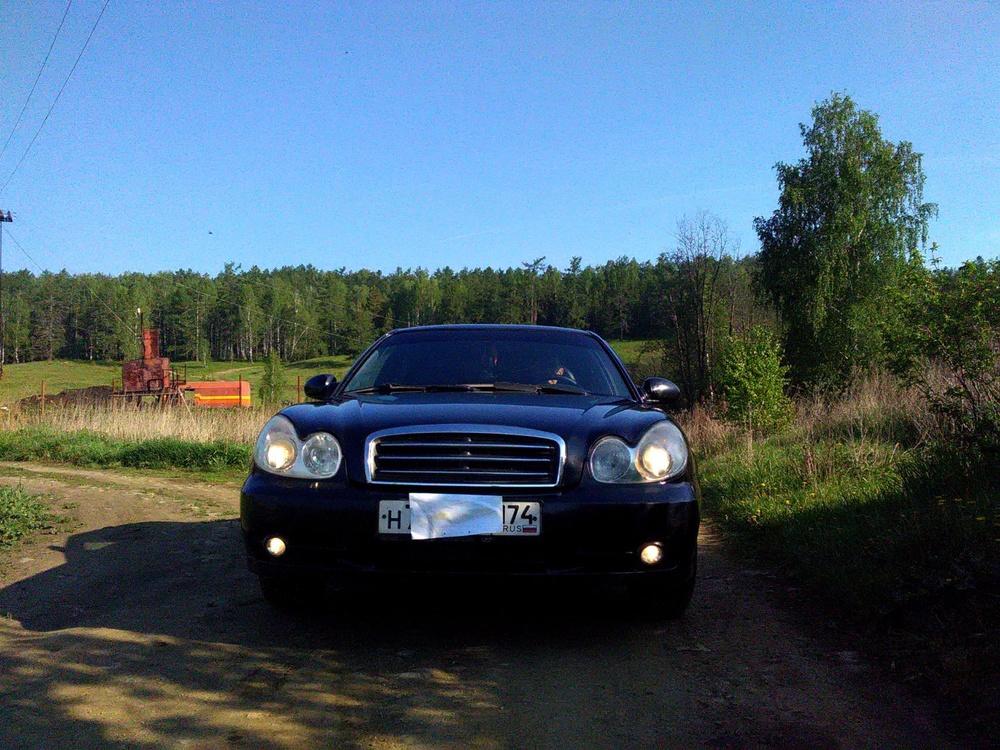 Подержанный Hyundai Sonata, хорошее состояние, черный , 2006 года выпуска, цена 330 000 руб. в Челябинской области