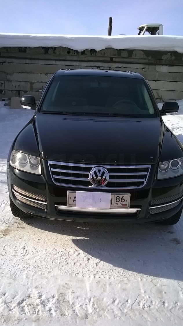 Подержанный Volkswagen Touareg, отличное состояние, черный , 2006 года выпуска, цена 550 000 руб. в ао. Ханты-Мансийском Автономном округе - Югре