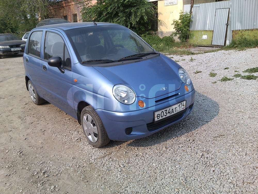 Подержанный Daewoo Matiz, хорошее состояние, голубой металлик, 2007 года выпуска, цена 120 000 руб. в Челябинской области