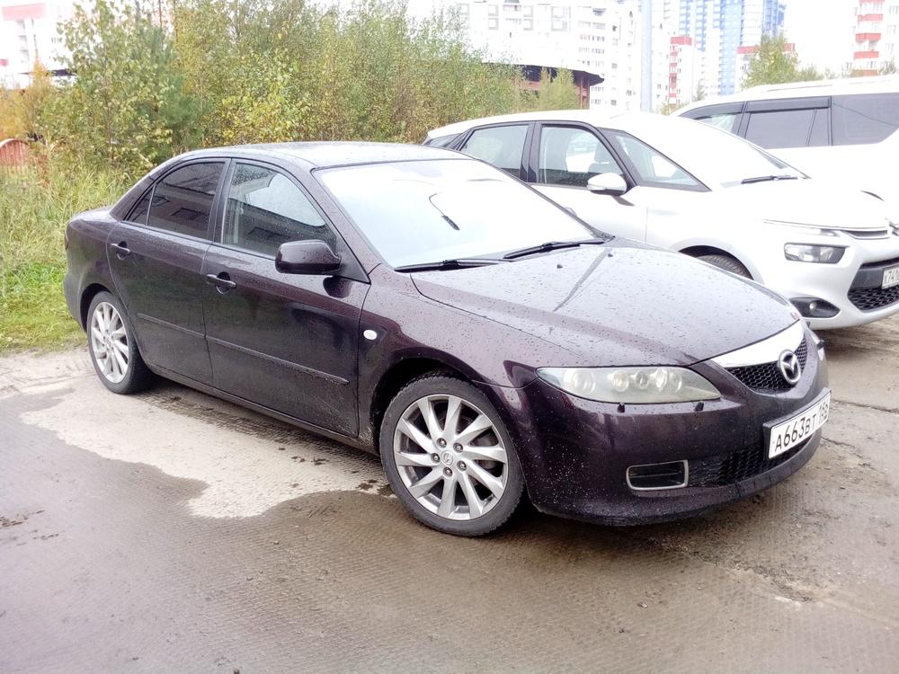 Подержанный Mazda 6, хорошее состояние, пурпурный , 2006 года выпуска, цена 340 000 руб. в ао. Ханты-Мансийском Автономном округе - Югре