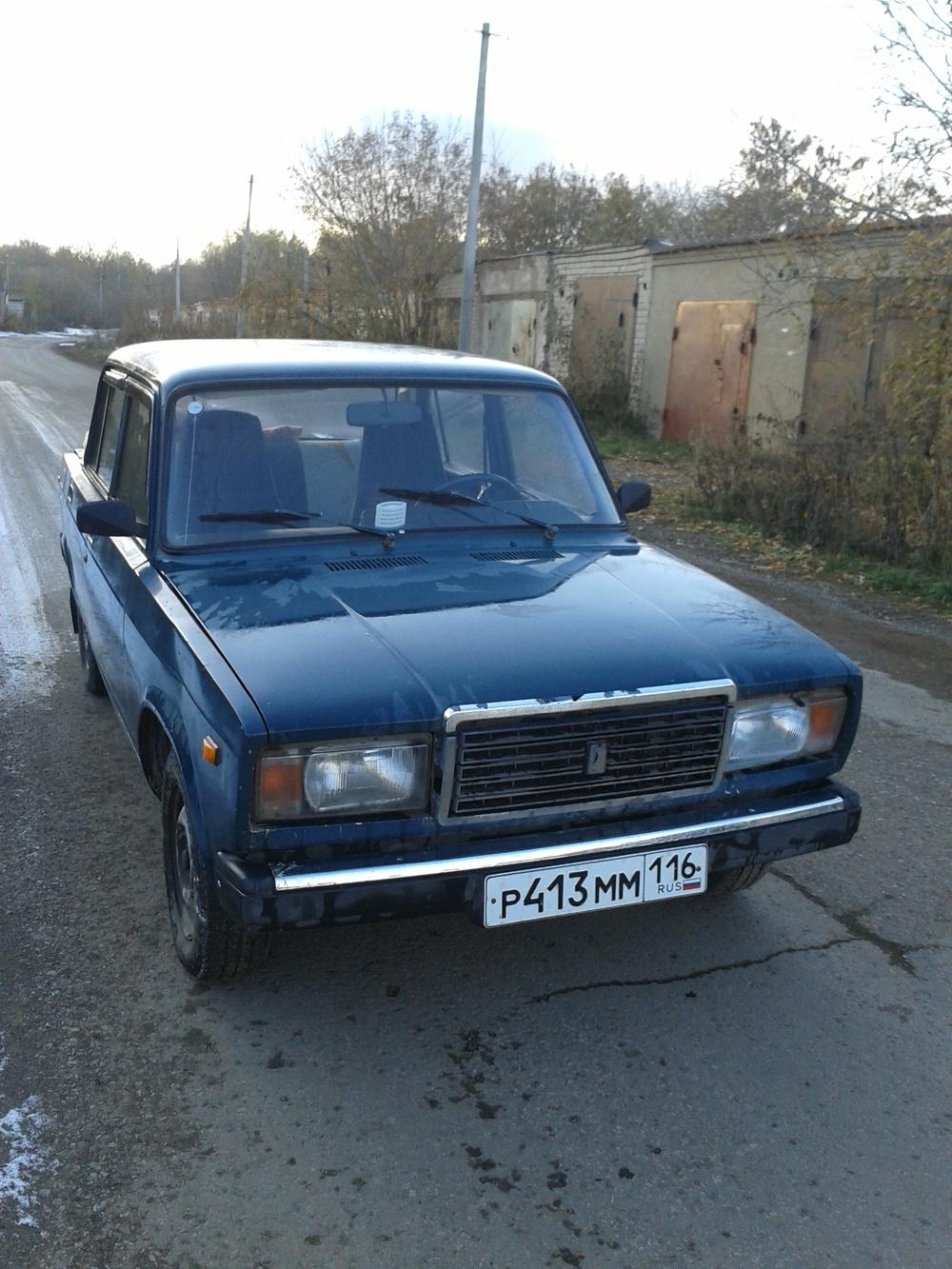 Подержанный ВАЗ (Lada) 2107, хорошее состояние, синий матовый, 1997 года выпуска, цена 30 000 руб. в республике Татарстане