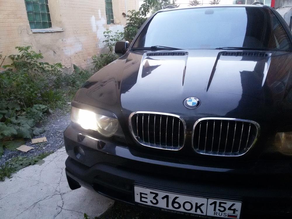 Подержанный BMW X5, хорошее состояние, черный металлик, 2003 года выпуска, цена 430 000 руб. в Челябинской области