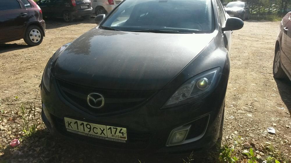 Подержанный Mazda 6, хорошее состояние, черный металлик, 2008 года выпуска, цена 460 000 руб. в Челябинской области