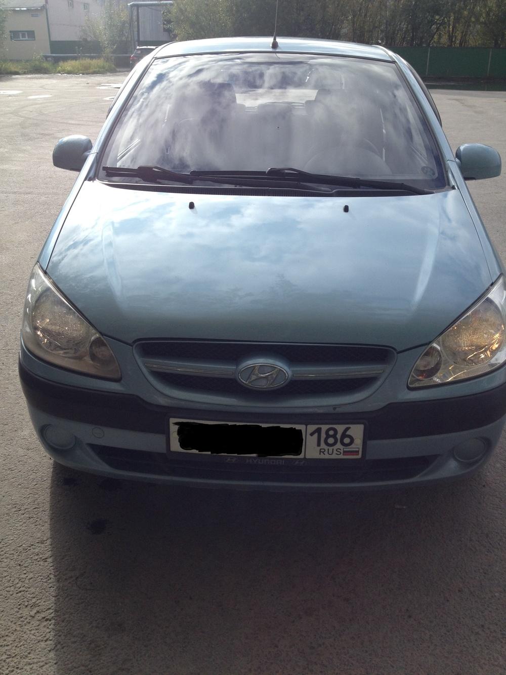 Подержанный Hyundai Getz, хорошее состояние, голубой , 2008 года выпуска, цена 285 000 руб. в ао. Ханты-Мансийском Автономном округе - Югре