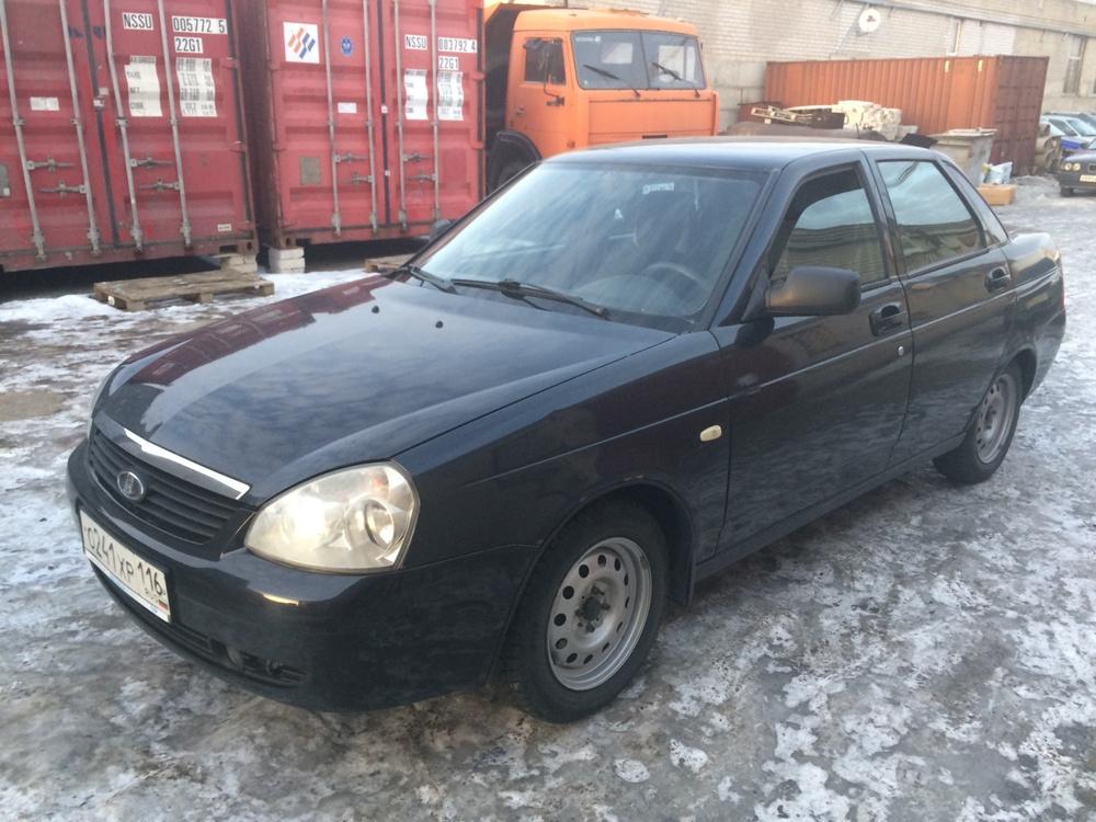 Подержанный ВАЗ (Lada) Priora, хорошее состояние, черный , 2008 года выпуска, цена 181 000 руб. в республике Татарстане