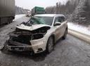 Подержанный Toyota Highlander, белый перламутр, цена 900 000 руб. в ао. Ханты-Мансийском Автономном округе - Югре, битый состояние