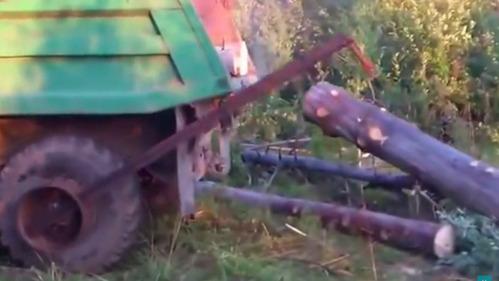 Грузовик на лесопилке сам загружает себе в кузов брёвна.